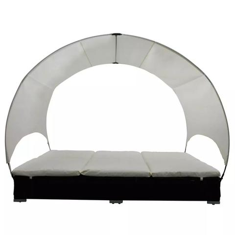 RATTAN DOUBLE LOUNGE BED WITH UMBRELLA - BLACK