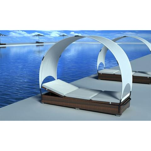 BROWN RATTAN LOUNGE BED WITH UMBRELLA - Loungeout