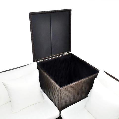 RATTAN LOUNGE SET - BROWN & BLACK