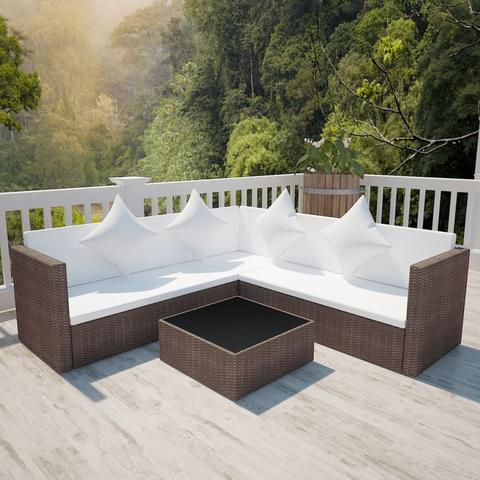 RATTAN POLY LOUNGE SET - BLACK & BROWN