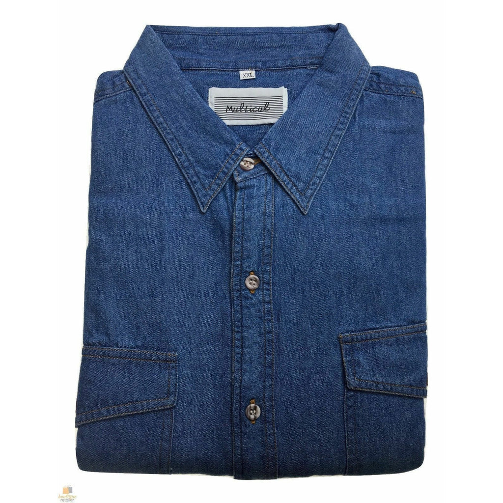 Denim Long Sleeve Jean Shirt Buttoned Front Casual Soft Top 100% COTTON New