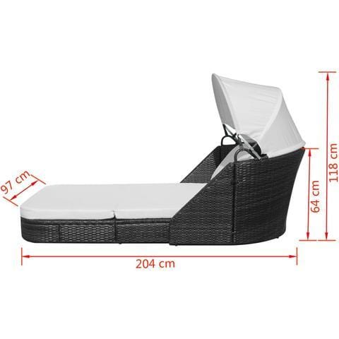 SUN BED POLY RATTAN WITH CANOPY - BLACK - Loungeout