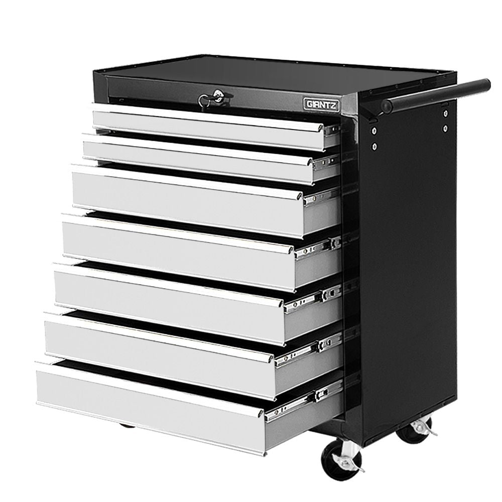 Giantz Tool Chest and Trolley Box Cabinet 7 Drawers Cart Garage Storage Black and Silver