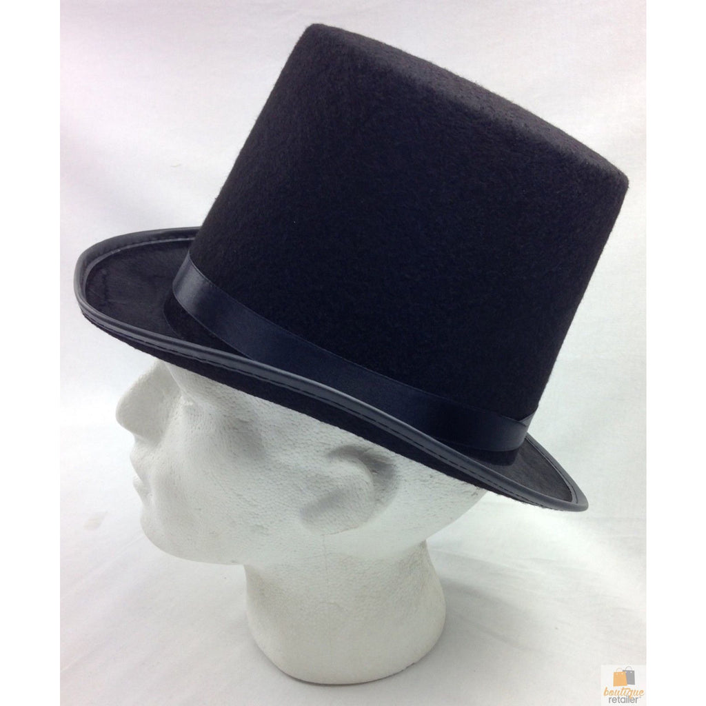 BLACK TOP HAT Costume Mad Hatter Party Wedding Magician Formal Trilby Fedora