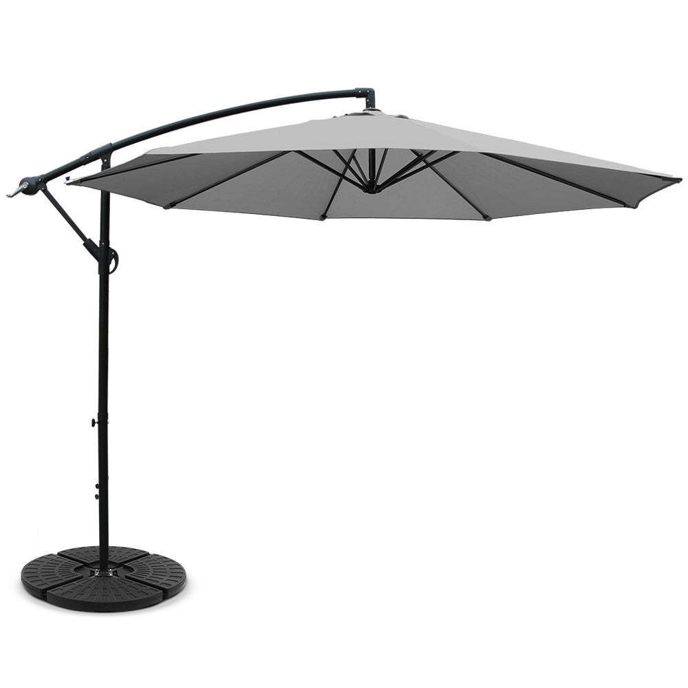 Instahut 3M Umbrella with 48x48cm Base Outdoor Umbrellas Cantilever Sun Beach Garden Patio Grey
