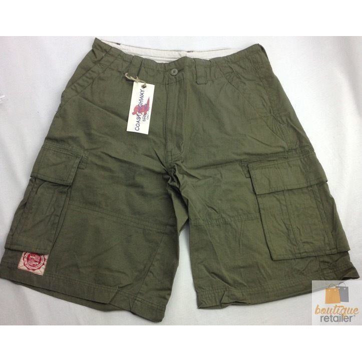 CARGO SHORTS 100% COTTON Army Military PLAIN Pocket Drawstrings Mens S-XXL