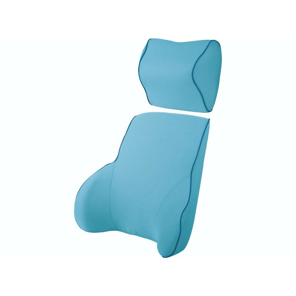 Blue Memory Foam Lumbar Back & Neck Pillow Support Back Cushion Office Car Seat