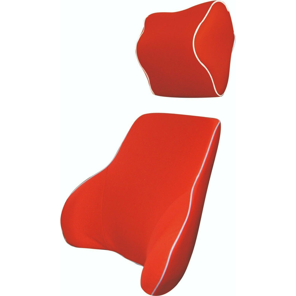 Red Memory Foam Lumbar Back & Neck Pillow Support Back Cushion Office Car Seat