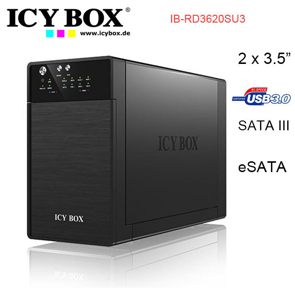 "ICY BOX External dual RAID system for 3.5"" SATA I/II/III HDD with USB 3.0 and eSATA (IB-RD3620SU3)"