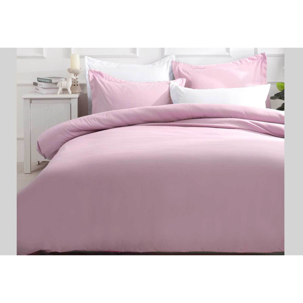 King Size Pink Color Quilt Cover Set (3PCS)