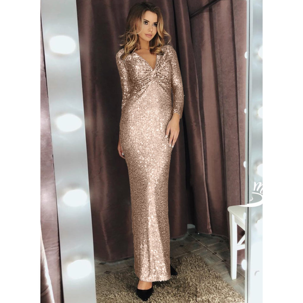 Apricot Long Sleeve V Neck Twist Ruched Sequin Party Maxi Dress