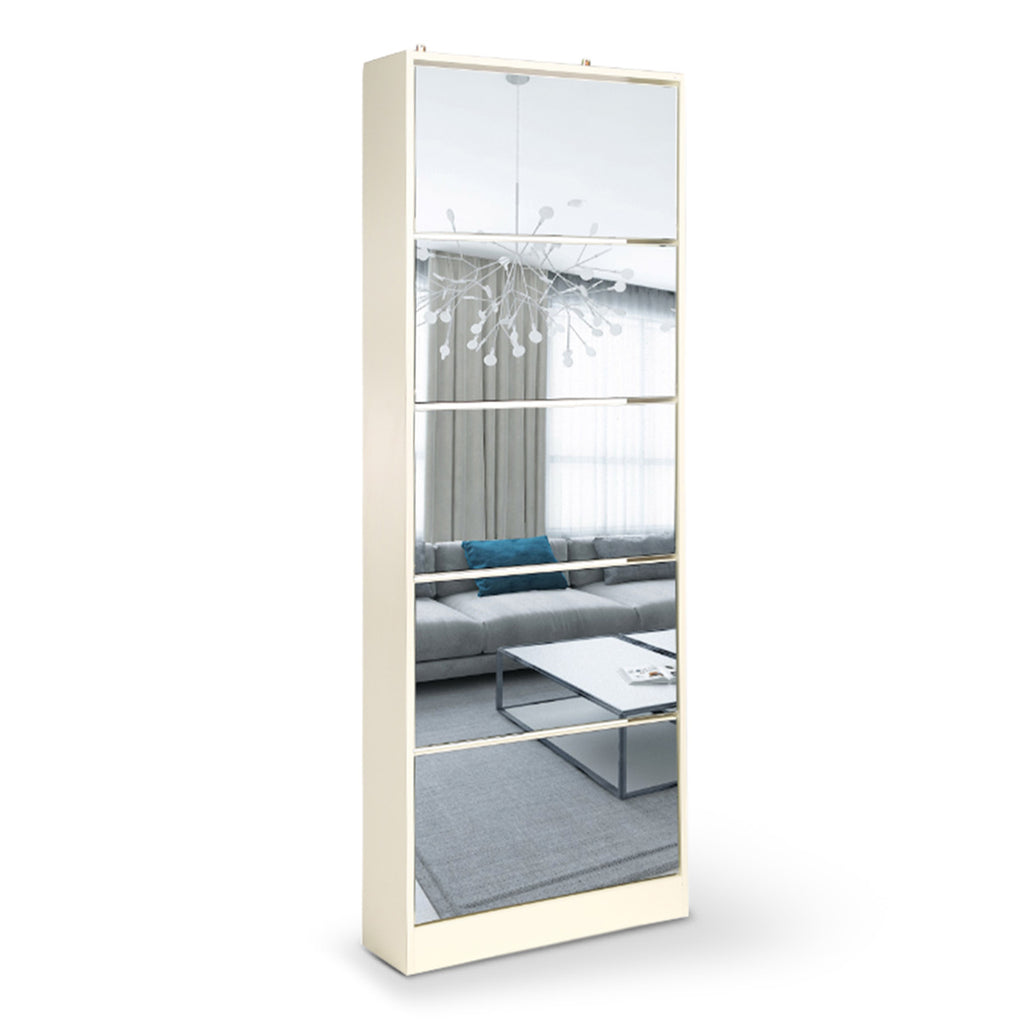 Mirrored Shoe Storage Cabinet Organizer - 63 x 17 x 170cm