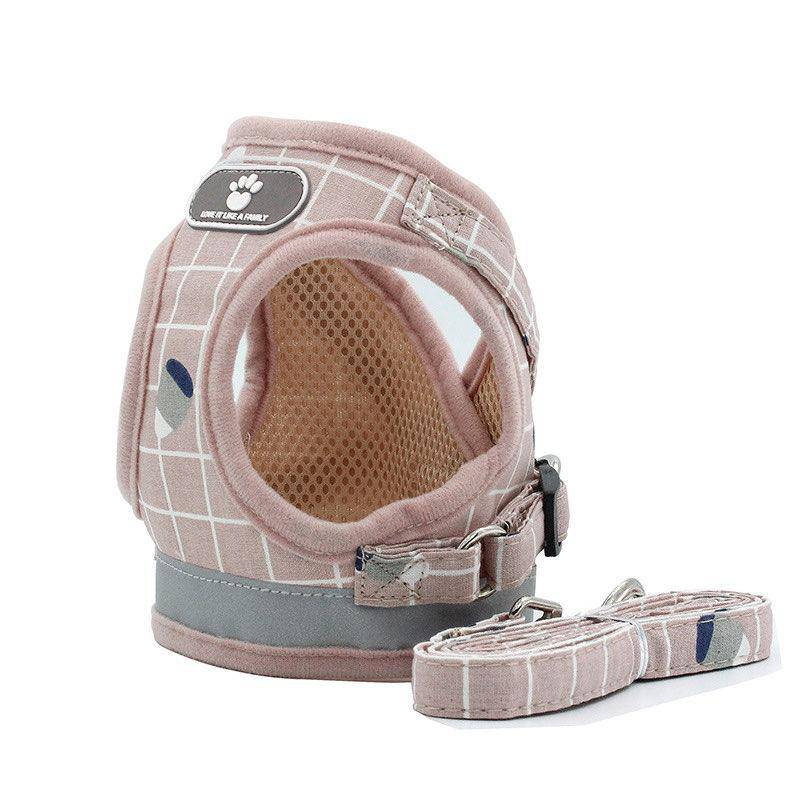 Dogs Harnesses Vest Puppy Chest Strap Pug and Leash Set XS PINK