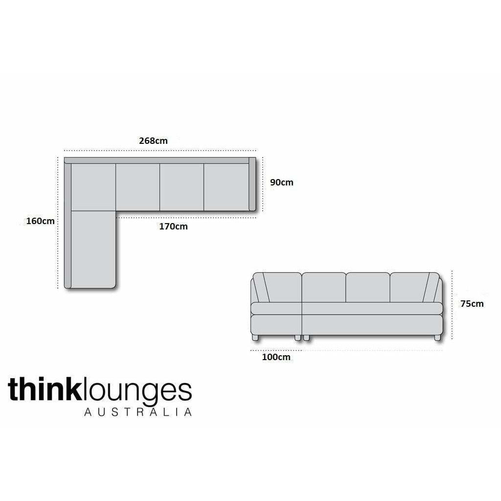Grey Lounge | Chaise Lounge  | Ella 3.5 Seater + Chaise Grey/Black
