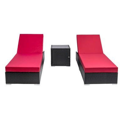 BLACK WICKER 2-SEATER LOUNGE SET - Loungeout