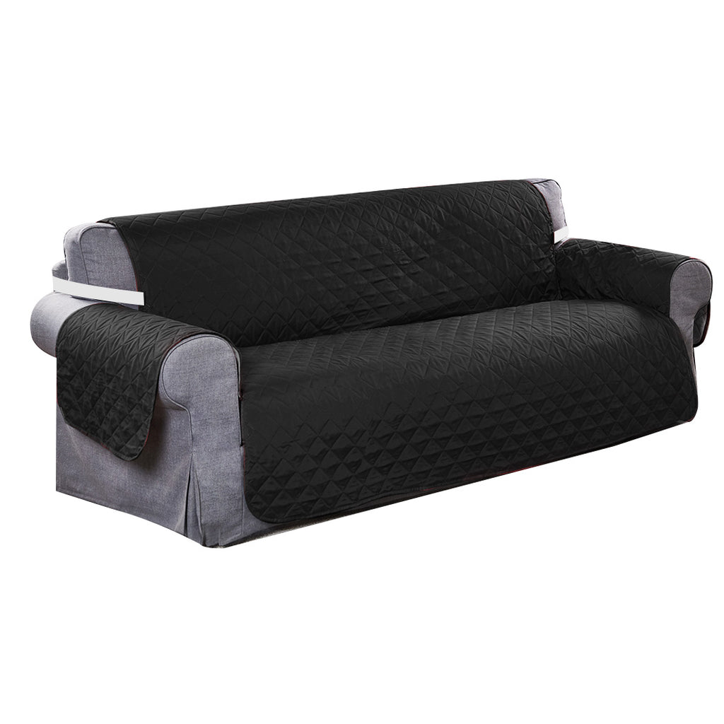 Sofa Cover Couch Lounge Protector Quilted Slipcovers Waterproof Black 335cm x 218cm