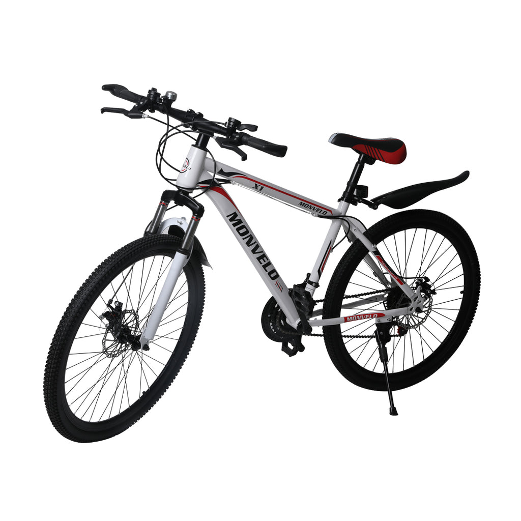 21Speed Bike 27.5'' Moutain Bicycle Dual Disc Brake Front Suspension White Women