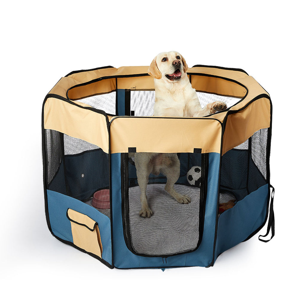 8 Panel Pet Playpen Dog Puppy Play Exercise Enclosure Fence Blue M