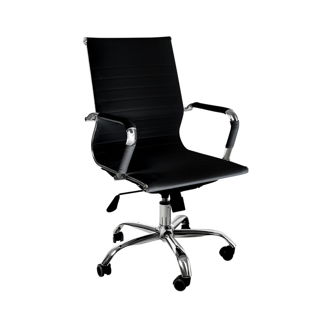 Office Chair Home Work Study Gaming Chairs PU Mat Seat Mid-Back Computer Black