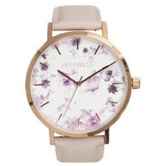 Floral Minimalist Classic in Rose Gold & Lilac Woman's Dress Watch