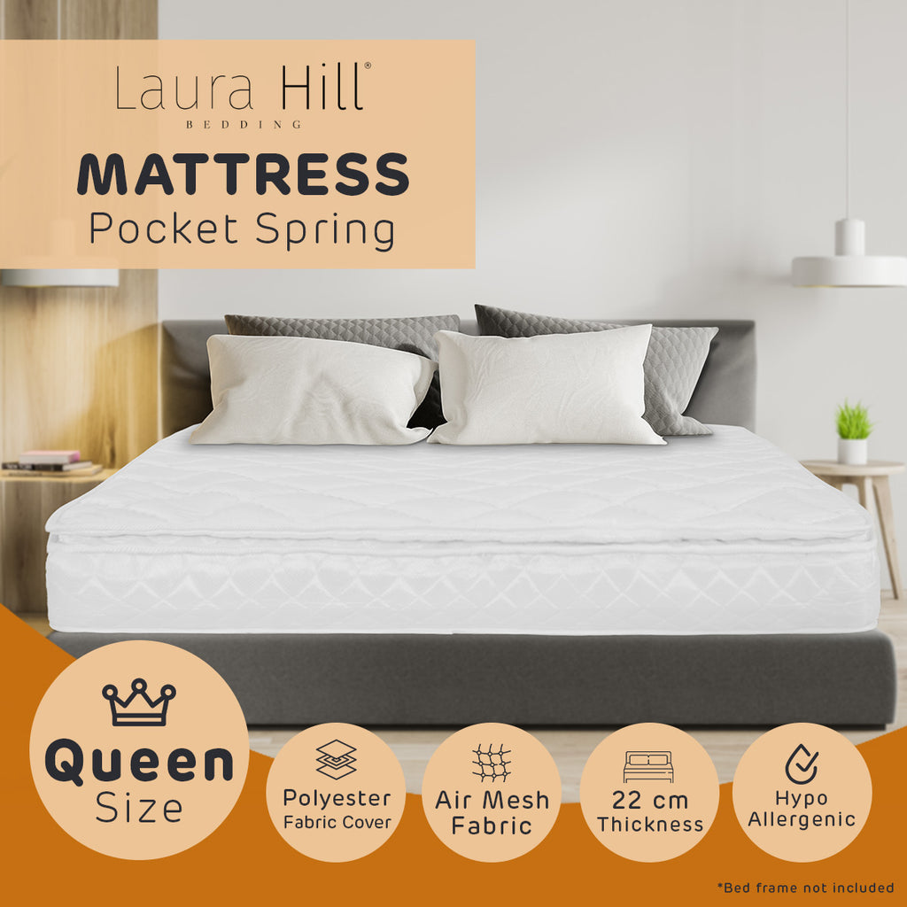 Laura Hill Pillow Top Pocket Spring 22in Mattress - Queen