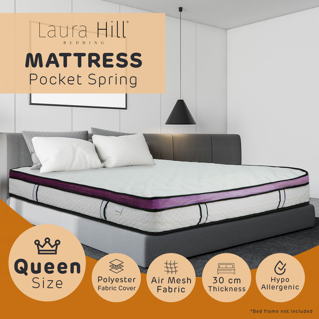 Laura Hill Euro Top Spring Pocket Mattress Queen - 30cm
