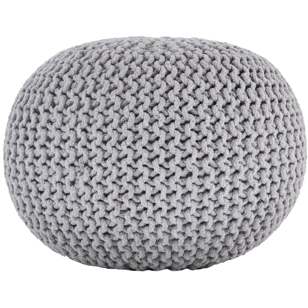 Ava Knitted Pouf LIGHT GREY