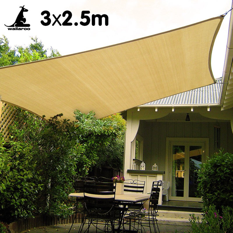 Wallaroo Rectangular Shade Sail 3 x 2.5m - Sand