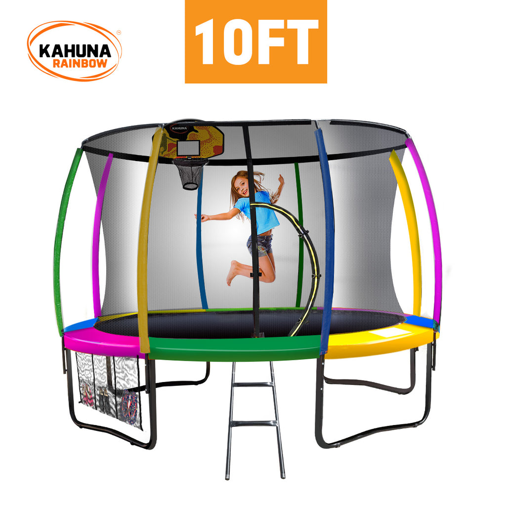 Kahuna Trampoline 10 ft with Basketball set - Rainbow