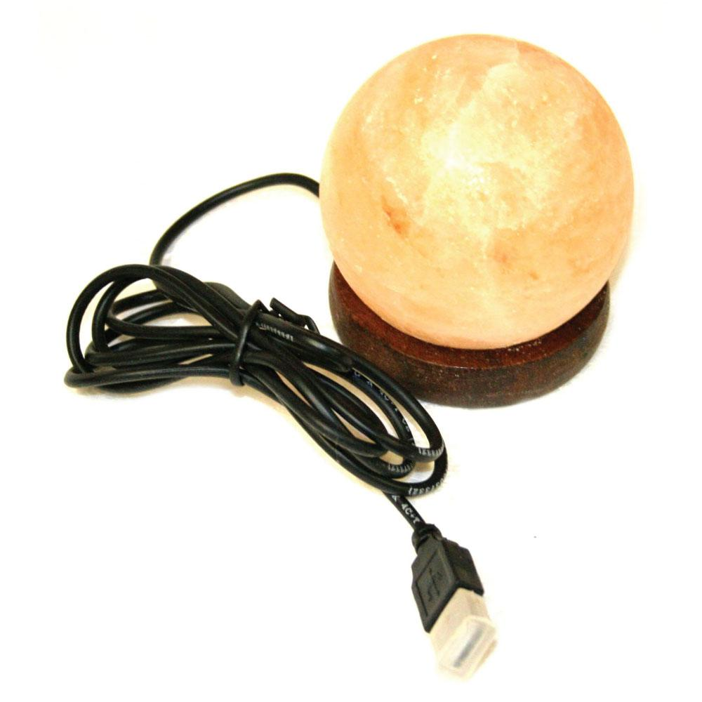 USB Himalayan Salt Lamp Carved Ball Sphere Shape Pink Crystal Rock LED Light