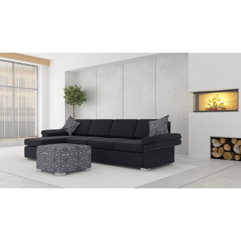 Wembley 3.5 + Chaise ( Black ) - Loungeout