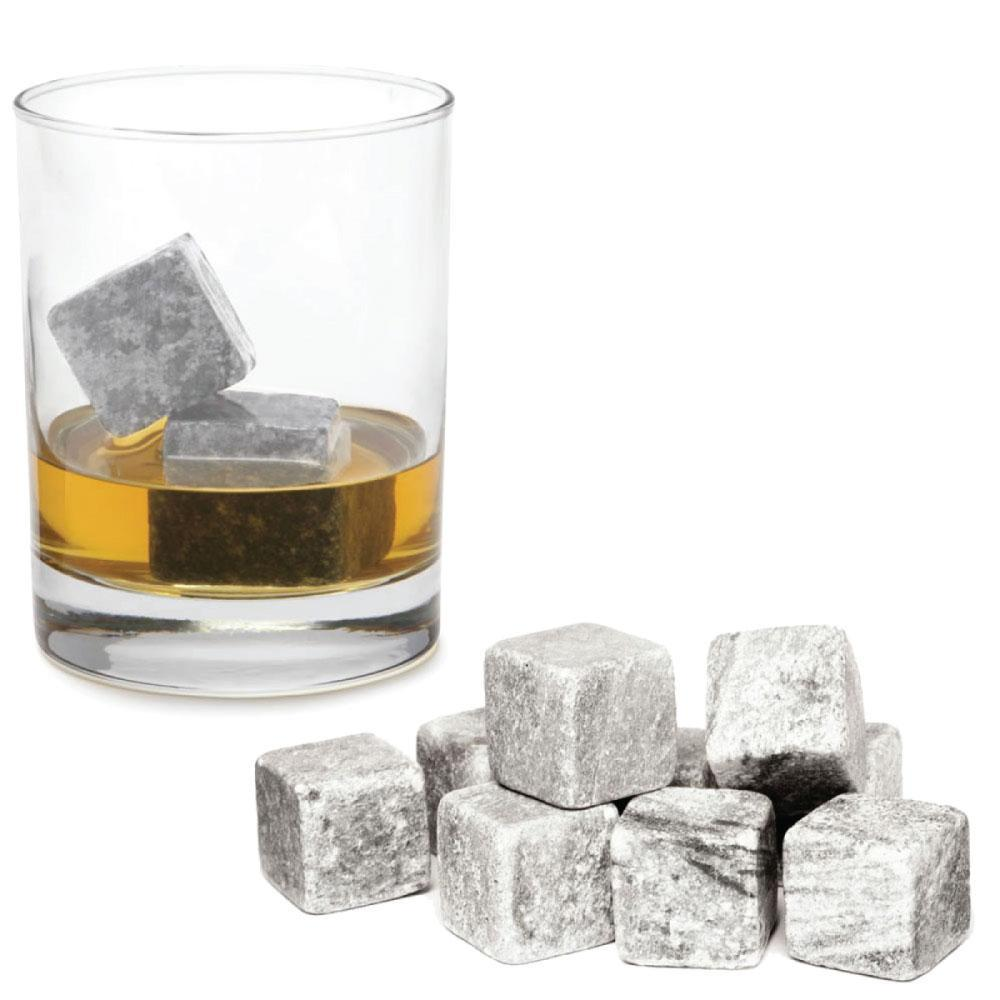 Whiskey Stones Ice Melts | 9 Reusable Natural Marble Chilling Scotch Rocks Cubes