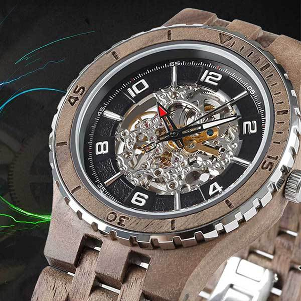 Men's Premium Self-Winding Transparent Body Walnut Wood Wrist Watches