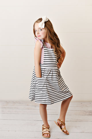 Girls' Black and White Striped Ruffle Pinafore