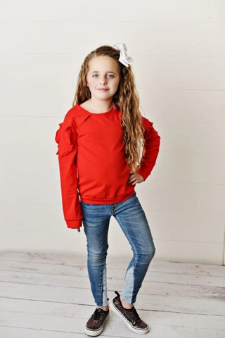 Girls' Red Ruffle Long Sleeve