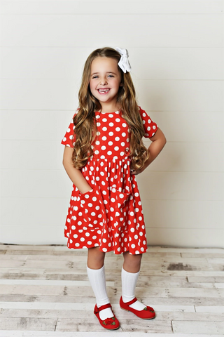 Girls' Red Polka Dot Twirl Dress