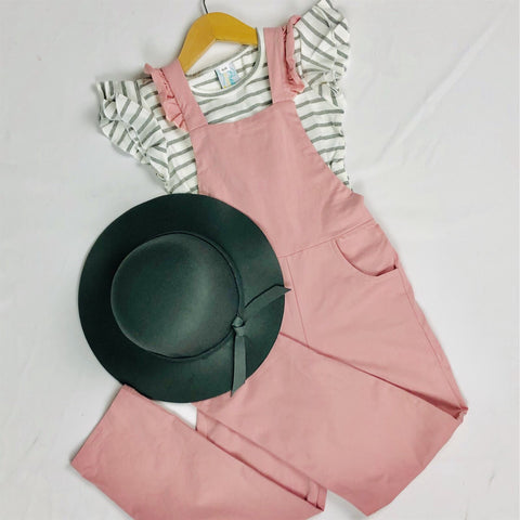 Girls' Dusty Rose Ruffle Pocket Jumpsuit