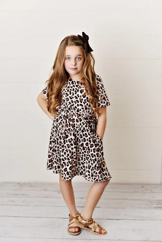 Girls' Leopard Print Twirl Dress