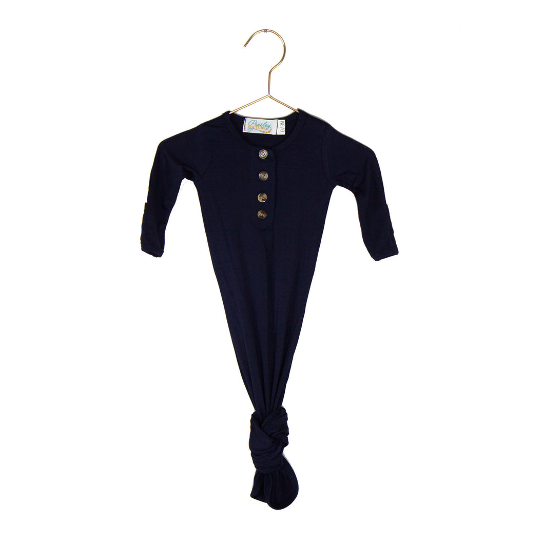 Softest Knotted Gown - Dark Navy