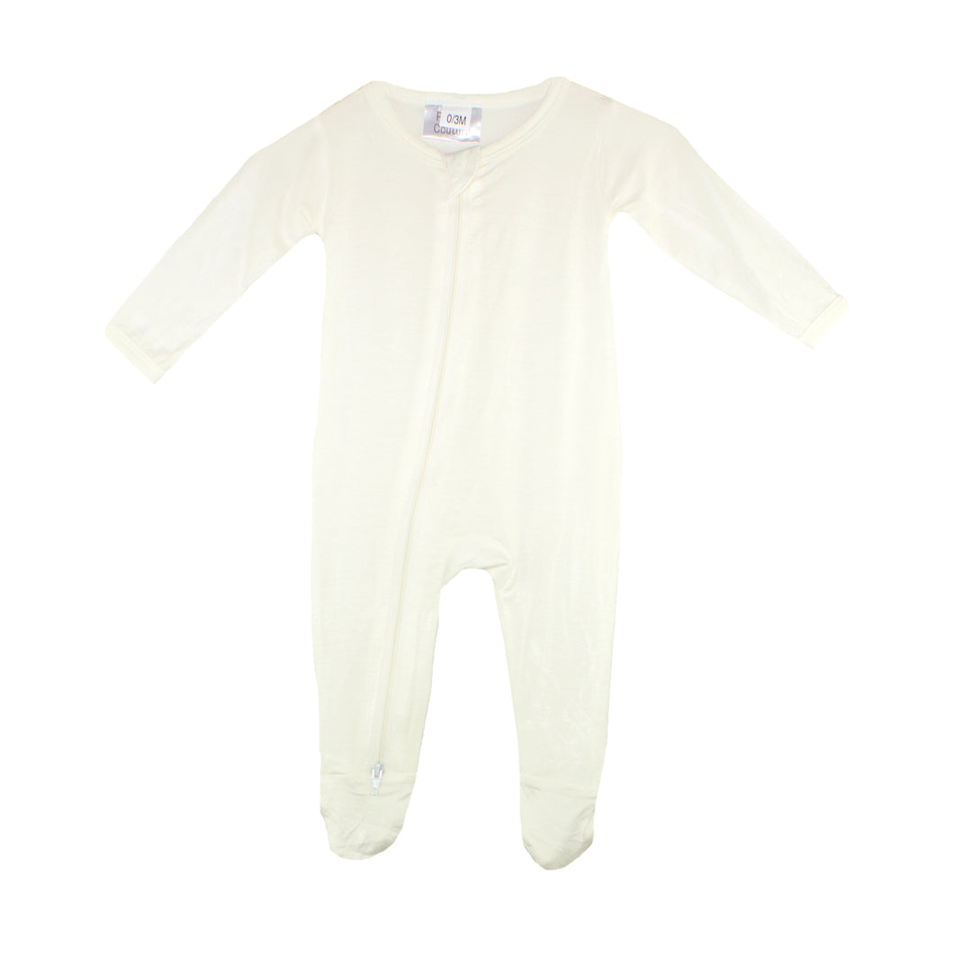 Double Zip Onesies - White