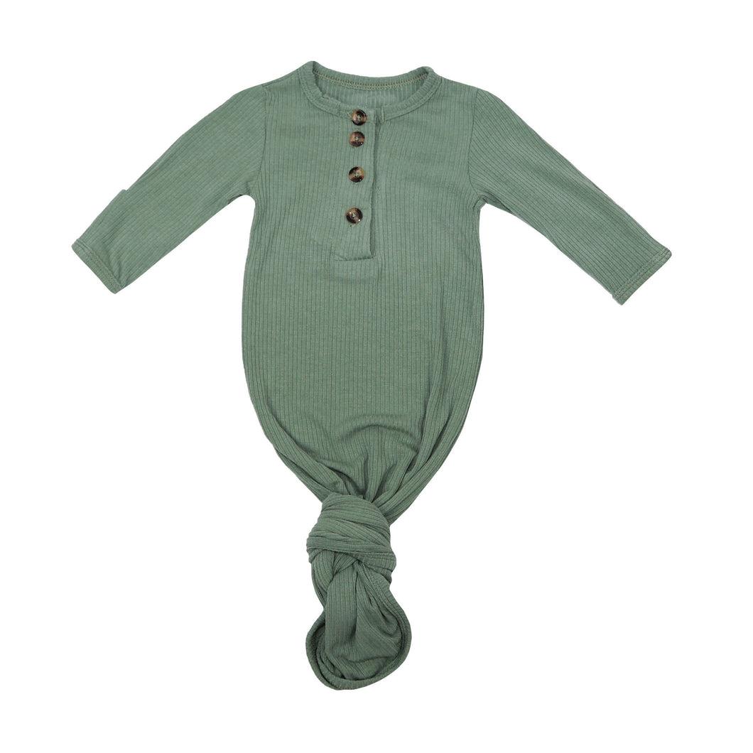 Knotted Baby Gown - Ribbed Evergreen