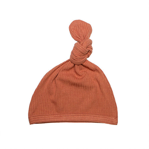 Top Knot Hat - Ribbed Rust