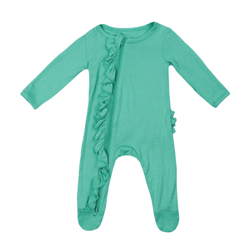 Ruffle 2 Way Zip Romper - Spring Green