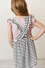 Load image into Gallery viewer, Ruffle Pinafore - Striped Black & White