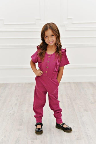 Ruffle Pocket Jumpsuit - Raspberry