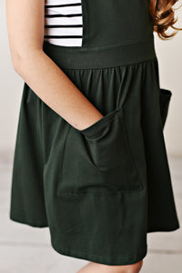 Ruffle Pinafore - Army Green