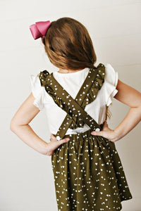 Softest Pinafore - Olive Green Heart