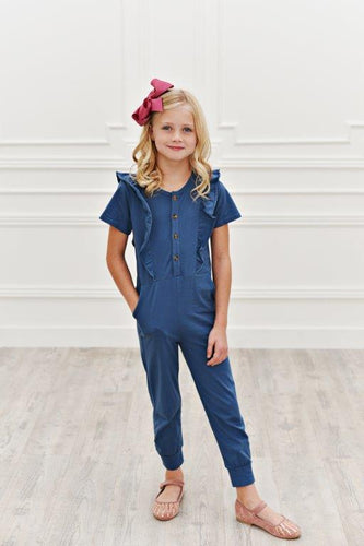 Ruffle Pocket Jumpsuit - Ocean Blue
