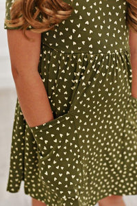 Olive Green Heart Twirl Dress