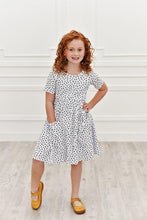 Load image into Gallery viewer, White w/ Black Hearts Twirl Dress